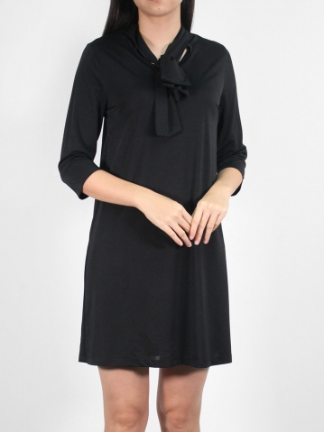 JANE BOW COLLARED 3/4 SLEEVE DRESS IN BLACK