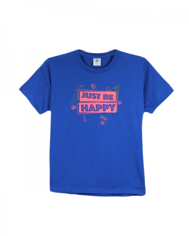 BOYS JUST BE HAPPY GRAPHIC TEE IN ROYAL