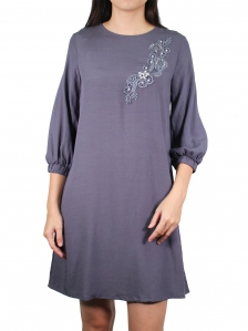 GLORIA  ROUND NECK 3/4 SLEEVE DRESS IN DARK GREY