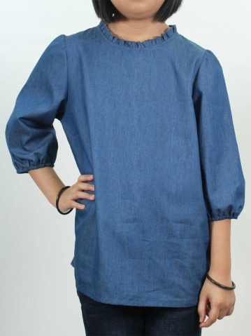 KITTY SOLID 3/4 SLEEVE BLOUSE IN MID BLUE