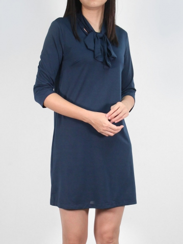JANE BOW COLLARED 3/4 SLEEVE DRESS IN DARK NAVY
