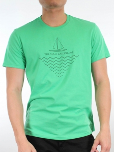 MEN THE SEA IS CALLING ME GRAPHIC TEE IN MID GREEN