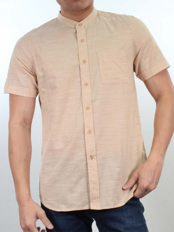 JACK MANDARIN COLLARED SHIRT IN DARK BEIGE