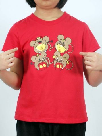 GIRLS FUNNY MOUSE GRAPHIC TEE IN RED