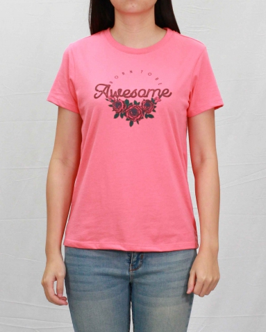WOMEN BORN TO BE AWESOME GRAPHIC TEE IN CORAL