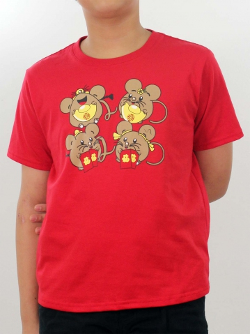 BOYS FUNNY MOUSE GRAPHIC TEE IN RED