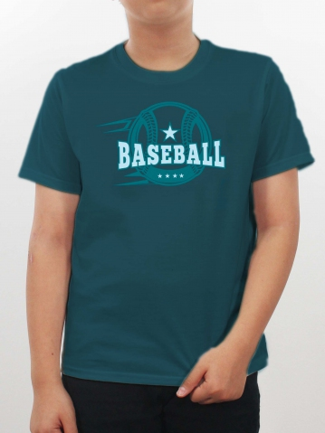 BOYS BASEBALL IMAGE GRAPHIC TEE IN DARK TEAL
