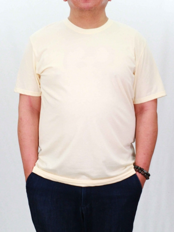 RONALD PLUS SIZE SHORT SLEEVE PLAIN TEE IN CREAM