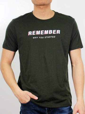 MEN REMEMBER WHY YOU STARTED GRAPHIC TEE IN DARK OLIVE