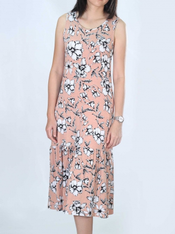 NEOL PRINTED SLEEVELESS DRESS IN PEACH
