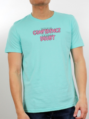 MEN CONFIDENCE & DOUBT GRAPHIC TEE IN LIGHT GREEN