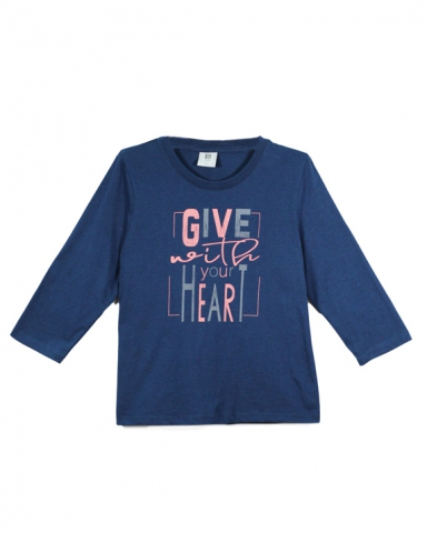 GIRLS GIVE WITH YOUR HEART GRAPHIC TEE IN DARK NAVY