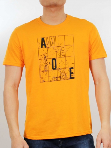 MEN AWESOME GRAPHIC TEE IN MID ORANGE