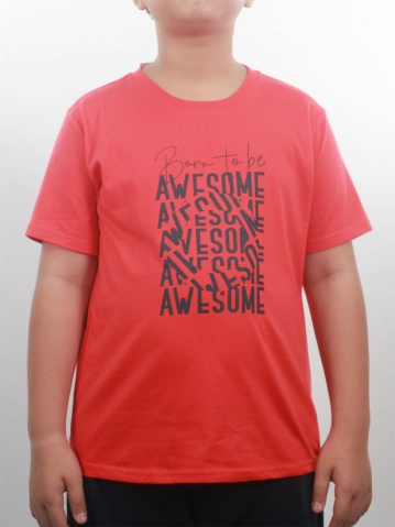 BOYS BORN TO BE AWESOME GRAPHIC TEE IN DARK ORANGE