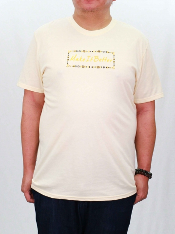 MEN PLUS SIZE MAKE IT BETTER GRAPHIC TEE IN CREAM