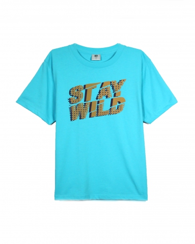 BOYS STAY WILD GRAPHIC TEE IN MID BLUE