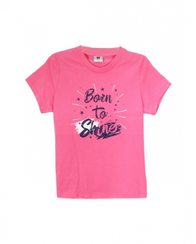 GIRLS BORN TO SHINE GRAPHIC TEE IN MID PINK