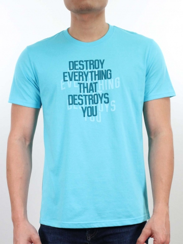 MEN DESTROY EVERYTHING GRAPHIC TEE IN LIGHT BLUE