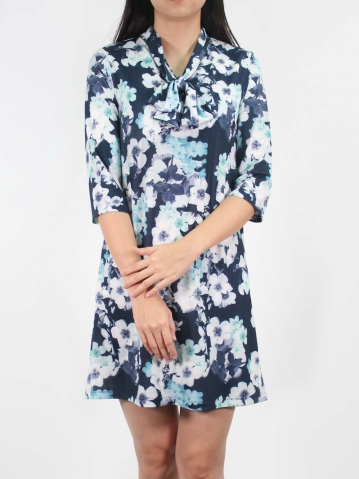 JANE PRINTED BOW COLLARED 3/4 SLEEVE DRESS IN DARK NAVY