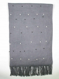 CHLOE BEADS TRIM SCARF IN MID GREY