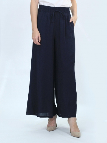 OLIVIA SOLID FLARED LONG PANTS IN DARK NAVY