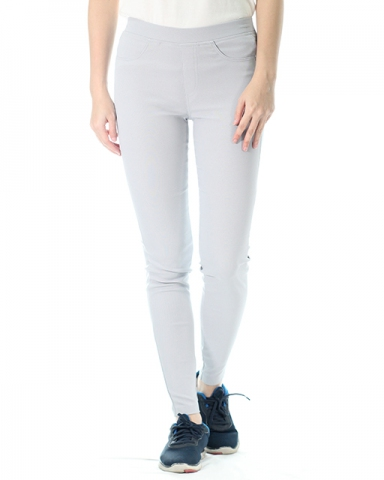 VICTORIA WOVEN LONG JEGGING IN LIGHT GREY