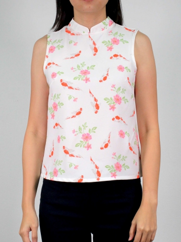 MOLLY PRINTED SLEEVELESS BLOUSE IN OFF WHITE