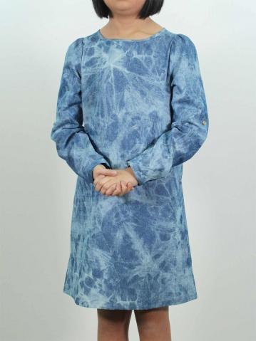 KITTY SOLID LONG SLEEVE DRESS IN MID BLUE
