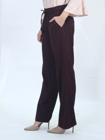 OLLIE SOLID EASY  LONG PANTS IN DARK WINE