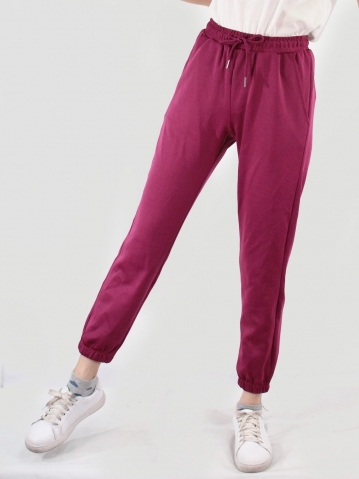 JANE KNITTED JOGGER PANTS IN BURGUNDY