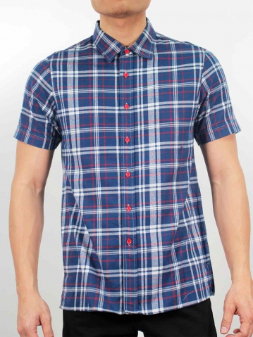 LUCAS COLLARED SHORT SLEEVE CHECK SHIRT IN DARK BLUE