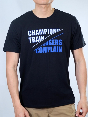 MEN CHAMPIONS TRAIN GRAPHIC TEE IN BLACK