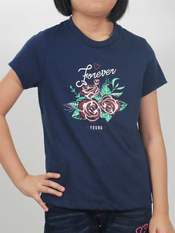 GIRLS FOREVER YOUNG GRAPHIC TEE IN DARK NAVY