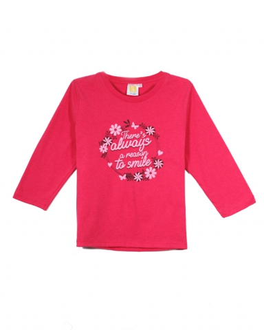 GIRLS REASON TO SMILE GRAPHIC TEE IN RASBERRY