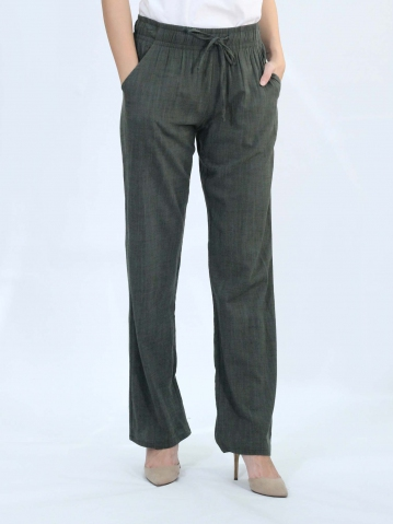 OLLIE SOLID EASY  LONG PANTS IN DARK ARMY