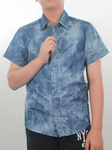 KEVIN COLLARED SHORT SLEEVE SHIRT IN MID BLUE