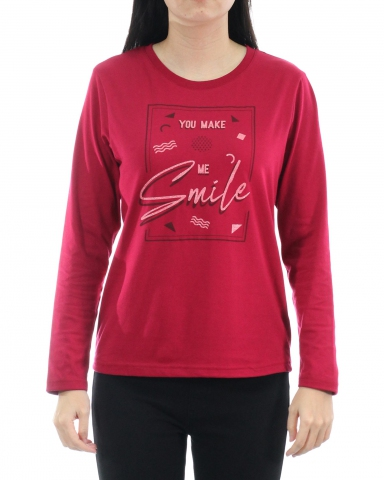 WOMEN YOU MAKE ME SMILE GRAPHIC TEE IN MAROON