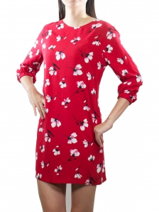 EVA PRINTED 3/4 SLEEVE DRESS IN DARK RED