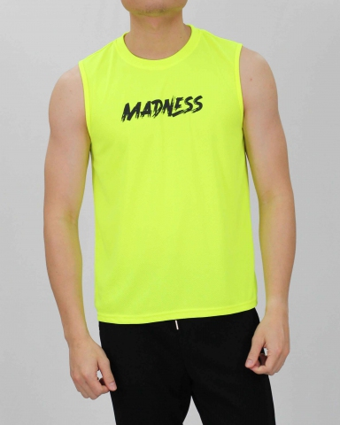 SCOTT MADNESS MICROFIBER MUSCLE TEE IN NEON YELLOW