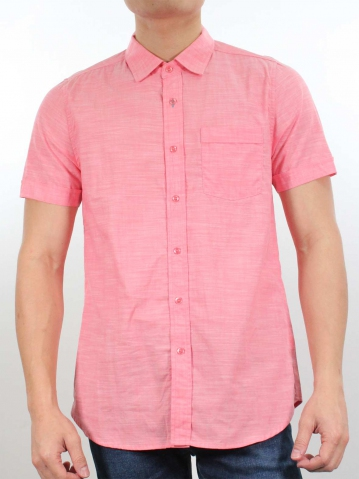 JACK COLLARED SHORT SLEEVE SHIRT IN DARK CORAL