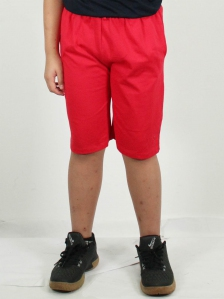 HUGO SOLID KNIT BERMUDA SHORTS IN RED