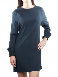 ELLA ROUND NECK LONG SLEEVE DRESS IN DARK NAVY