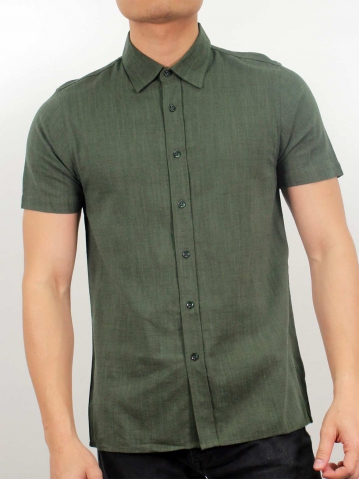 LUCAS COLLARED SHORT SLEEVE SHIRT IN DARK OLIVE