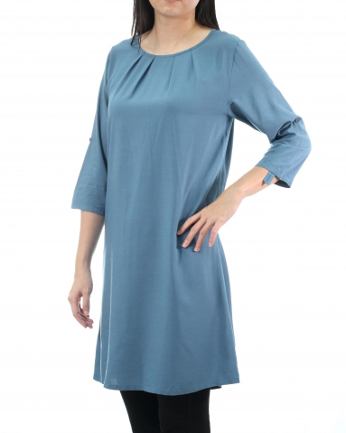 TINA ROUND NECK 3/4 SLEEVE DRESS IN DARK BLUE