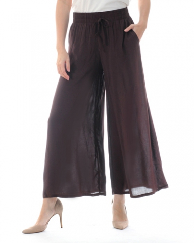 TINA SOLID FLARED LONG PANTS IN CHESTNUT
