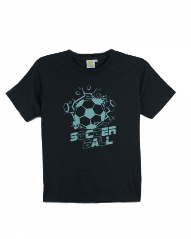 BOYS SOCCER BALL GRAPHIC TEE IN DARK GREY