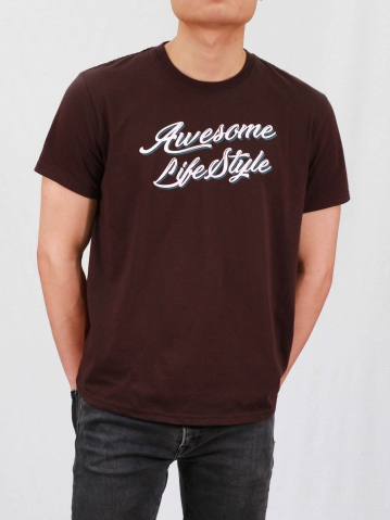 MEN AWESOME LIFE STYLE GRAPHIC TEE IN CHESTNUT