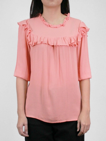 KATE RUFFLES NECK 3/4 SLEEVE BLOUSE IN PEACH