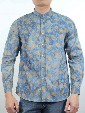 KENT PRINTED LONG SLEEVE SHIRT IN MID BLUE