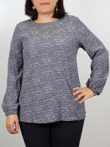 JENNY ROUND NECK LONG SLEEVE BLOUSE IN DARK NAVY